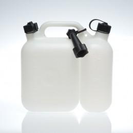 JERRICAN (huile + essence) DOUBLE USAGE AVEC BEC VERSEUR (2,5 + 5L)