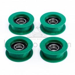 Pack 4 Poulies galet tendeur gorge plate en résine Øint 15 mm - Øext 50 mm - Larg 19 mm avec rebords Ad. Castel Garden