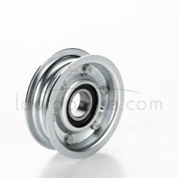 Poulie tendeur à gorge plate en acier Øint 15 mm - Øext 63 mm - Larg 20 mm avec rebords Ad. Castelgarden