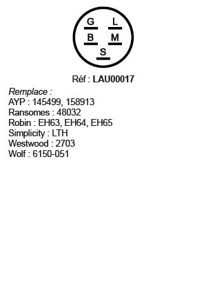 correspondances contacteur à clé LAU00017