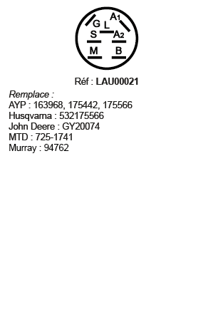 correspondances contacteur à clé LAU00021