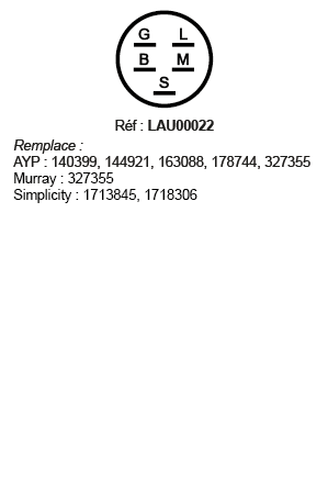 correspondances contacteur à clé LAU00022